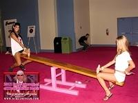 Two girls try out the sexy see-saw