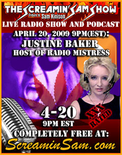 Justine Baker host of Radio Mistress Show Banner